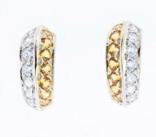 14K Solid Yellow Gold Diamond and Topaz Stud Earrings 1 1/8 CTW