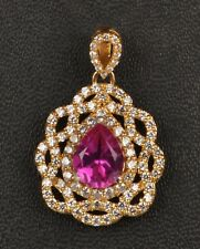 1,85 Karat 585er Gelbgold Natürlich Turmalin EGL Zertifiziert Diamant Anhänger