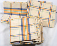 Vintage French pure cotton blue green gold striped checked table napkins x 4 NOS