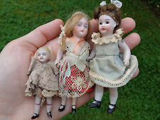 3 antike Puppen Kinder für Puppenstube c1900 Original Kleidung dollhouse dolls