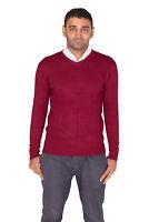 tinta unita, da uomo scollo a V maglione lavorato maglia pullover manica lunga