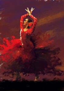 Flamenco dancer Painting portrait in acrylic on canvas by Brian Tones