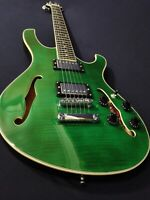 "Haze Gloss Green Semi-Hollow Body,""F"" Holes Electric Guitar+Free Bag HD348TGN"