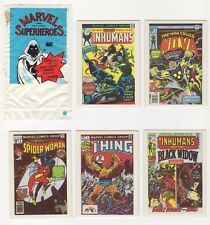 Marvel Superheroes Trading Cards 1984 set of 5 (#s 35, 41, 44, 53, 58) + sleeve