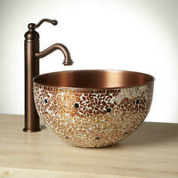 "Signature Hardware 244091 Valencia 14"" Mosaic Copper Vessel Sink - Copper"