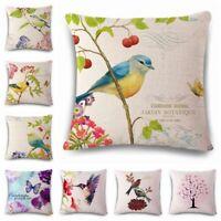 Flowers birds Cotton Linen Throw Pillow Case Cushion Cover Home Sofa Decor