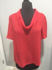 Vintage Jolene Fashions Red Cowl neck Blouse, Size Small, Sheer 70s, 80s, Light