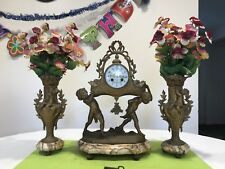 19th Century French Bronze & Marble cherub Clock Set