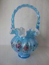 Fenton 9.5'' Celeste Blue Overlay Iridized Melon Basket w/ HP Flowers  Gorgeous