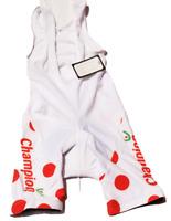 Mens Polka Dot Cycling Bib Bike Shorts White Red X -Large