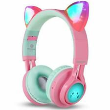 Riwbox Pink Kids Bluetooth Headphones,Cat Ear LED Light Up Wireless Foldable Mic