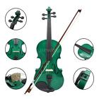 New Student Acoustic Violin 4/4 Full Size Basewood w/ Case Bow Rosin Green B3C7