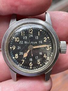 Bulova 3818A, Manual Wind, Full Lume, Military Watch, Big Crown