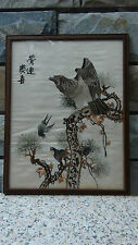 """ANTIQUE CHINESE SILK  FORBIDDEN STITCHES  EMBROIDERY  """" EAGLE AND BIRDS """""""