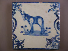 Antique Dutch animal tile donkey Baluster tile rare 17th - free shipping