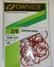 OWNER HOOKS SSW ALL PURPOSE BAIT RED SUPER NEEDLE POINT 5315-123 SZ 2/0 QTY 34