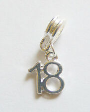 "1 Metal Silver Plated Birthday Age Dangle Charm ""18"" - Fits Charm Bracelet"