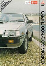 Mitsubishi Colt Cordia 1982-85 UK Market Foldout Sales Brochure 1600 GSL Turbo