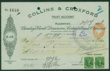 STH RHODESIA - 1931 CHEQUE with KGV ½d pair (EM326b)