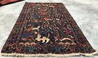 Hand Knotted Afghan Vintage Zakani Balouch Pictorial Wool Area Rug 7 x 4 Ft
