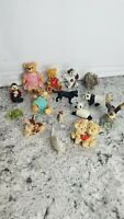 "VTG Lot of 14 Miniature Animals Statues Figurines Fairy Gardens 5"" tall and less"