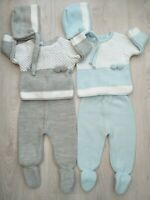 Baby Boys Spanish Knitted Suit with double pom pom & Bonett 0-3 Months