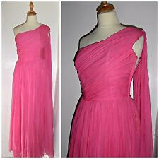 VINTAGE 50S JEAN ALLEN PINK CHIFFON ONE SHOULDERED GODDESS DRESS UK 8 prom ball