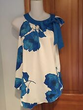 Jacqueline Riu Flower Print Cream/BleU Cold Shoulder Front Tie Top size 36 NEW