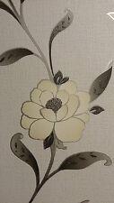 Adele Grey Silver Glitter Floral Textured Vinyl Feature Wallpaper Debona 2463