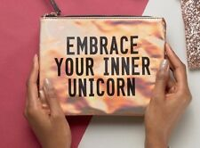 embrace your inner unicorn. new look rose gold holographic unicorn wristlet clutch cosmetics makeup bag nwt embrace your inner s