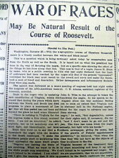 6 1903 Houston TX newspapers TEDDY ROOSEVELT His views on RACE RELATIONS in US
