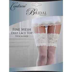 BRIDAL BRIDE WEDDING FINE MESH DEEP LACE TOP STOCKINGS IVORY - MEDIUM & LARGE