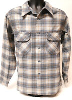 1960-70's Pendleton Gray Plaid Board Shirt Mens Large Flap Pockets Loop USA