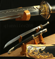 DAMASCUS  FOLDED STEEL SHARP CLAY TEMPERED  PHOENIX  ROSEWOOD CHINESE QING SWORD