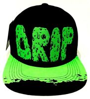 DRIP Snapback Cap Hat 100% Cotton Adult Men's OSFM Black Green NWT