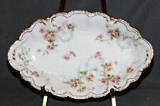 Theodore Haviland Oval Relish Dish - Pink & Yellow Roses - S144-D