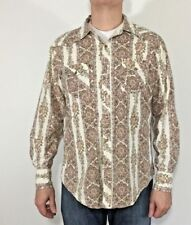 Mens BDG Floral Paisley Western Cotton Shirt Pearl Snaps Rockabilly Size Large