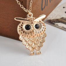 Fashion Women Bronze Owl Pendant Retro Long Chain Sweater Necklace Jewelry Gift