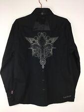 English Laundry Stitched Fleur De Lis Mens M Black Long Sleeve Shirt