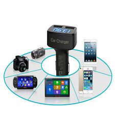 Durable Dual USB 4 In 1 Car Charger Adapter Voltage DC 5V 3.1A Tester For iPhone