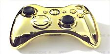 Replacement Chrome Gold Controller Shell + Buttons Mod Kit for Wireless Xbox 360