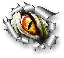 CLASSIC Ripped Open Torn Metal Rip & Evil Eye Creature Horror Vinyl car sticker
