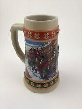 1993 Budweiser Beer Stein Collection Hometown Holiday Christmas Mug Made Brazil