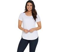 Isaac Mizrahi Live! Essentials Short Raglan Sleeve T-Shirt Bright White Size L