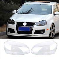 2x Headlight Lenses Cover Replacement For VW Volkswagen Golf MK5 2005-2009