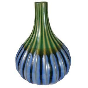 "Pier 1 Imports Vase Ribbed 12"" Ceramic Decorative Tall Blue Green Gray"