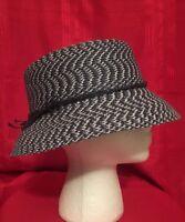 Unisex Bucket Trilby Hat Gangster Beach Sun Panama Hat Short Brim Blue & White