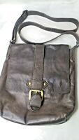 Brown Leather Messenger Shoulder Bag Magnetic Flap Made in Italy Borse In Pelle
