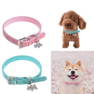 Dog Collar PU Leather Bling Rhinestone Necklace Pet Puppy Neck Strap Adjustable