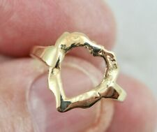"14k ""Hammered Heart"" Ring Size 8 - Yellow Gold 2.6 Grams"